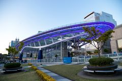 Paesaggio urbano di Nagoya alla notte nel Giappone fotografia stock libera da diritti