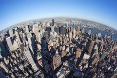 Paesaggio urbano di New York con fisheye immagini stock libere da diritti