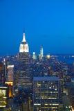 Paesaggio urbano di New York nella notte Fotografia Stock