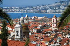 Paesaggio urbano di Nizza, vista da sopra Immagini Stock Libere da Diritti