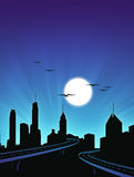 Paesaggio urbano di notte fotografie stock libere da diritti