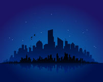 Paesaggio urbano di notte Immagini Stock