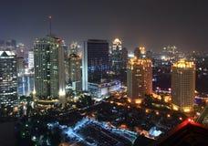 Paesaggio urbano di notte Fotografie Stock
