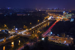 Paesaggio urbano di notte, Bucarest, Fotografie Stock
