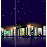 Paesaggio urbano di notte con le stelle Costruzioni moderne con illuminazione luminosa bandiera Fotografie Stock Libere da Diritti