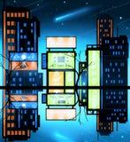 Paesaggio urbano di notte, Corridoio Fotografia Stock