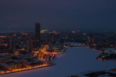 Paesaggio urbano di notte da un'altezza Fotografia Stock Libera da Diritti