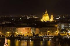 Paesaggio urbano di notte di Budapest Immagini Stock Libere da Diritti