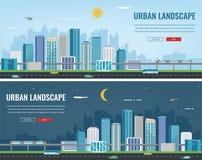 Paesaggio urbano di notte e di giorno Città moderna Architettura della costruzione, città di paesaggio urbano Modello del sito We Fotografie Stock