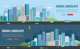Paesaggio urbano di notte e di giorno Città moderna Architettura della costruzione, città di paesaggio urbano Modello del sito We Immagini Stock