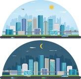 Paesaggio urbano di notte e di giorno Città moderna Architettura della costruzione, città di paesaggio urbano Vettore Immagini Stock Libere da Diritti