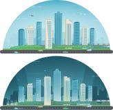 Paesaggio urbano di notte e di giorno Città moderna Architettura della costruzione, città di paesaggio urbano Vettore Immagine Stock Libera da Diritti