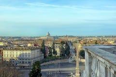 Paesaggio urbano di panorama dell'orizzonte di Roma Fotografia Stock Libera da Diritti
