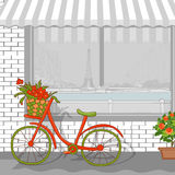 Paesaggio urbano di Parigi con bycicle Immagine Stock