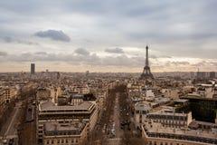 Paesaggio urbano di Parigi con la torre Eiffel Fotografie Stock Libere da Diritti