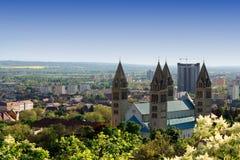 Paesaggio urbano di Pecs, Ungheria Fotografie Stock