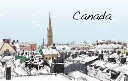 Paesaggio urbano di schizzo della neve di manifestazione del Canada e della costruzione, carta bianca illustrazione vettoriale