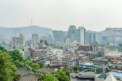 Paesaggio urbano di Seoul e della torre di Seoul Fotografia Stock Libera da Diritti