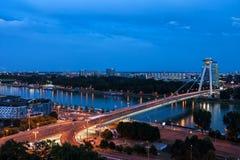 Paesaggio urbano di sera di Bratislava Immagine Stock Libera da Diritti