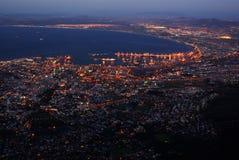 Paesaggio urbano di sera della città da birdview Fotografia Stock