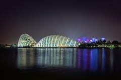 Paesaggio urbano di Singapore alla notte Fotografia Stock Libera da Diritti