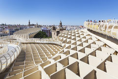 Paesaggio urbano di Siviglia dal parasole di Metropol Fotografia Stock Libera da Diritti