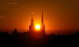 Paesaggio urbano di Stoccolma al tramonto fotografie stock