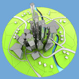 Paesaggio urbano di sviluppo sostenibile dell'isola della città Fotografia Stock
