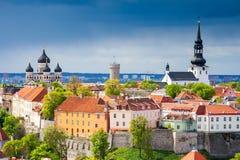 Paesaggio urbano di Tallinn L'Estonia fotografie stock