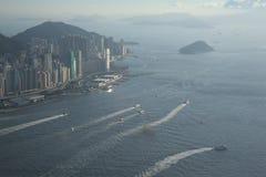 Paesaggio urbano di tempo di giorno di Hong Kong Immagini Stock Libere da Diritti