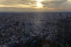 Paesaggio urbano di Tokyo al tramonto Fotografia Stock