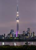 Paesaggio urbano di Tokyo e skytree di Tokyo alla notte Fotografia Stock
