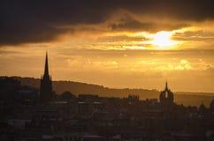 Paesaggio urbano di tramonto Immagine Stock