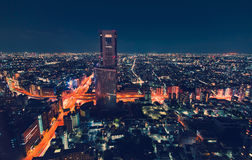 Paesaggio urbano di vista aerea alla notte a Tokyo, Giappone Fotografia Stock Libera da Diritti