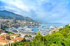 Paesaggio urbano di vista aerea di principato del Monaco Monte Carlo. Costa azzurrata. La Francia immagini stock libere da diritti