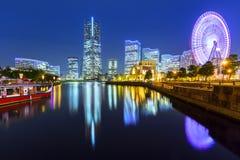 Paesaggio urbano di Yokohama alla notte Fotografia Stock Libera da Diritti