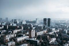 Paesaggio urbano durante la tempesta Immagine Stock