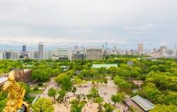 Paesaggio urbano e orizzonte della città di Osaka nel Giappone Immagini Stock Libere da Diritti