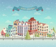 Paesaggio urbano e precipitazioni nevose di Natale Fotografie Stock