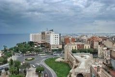 Paesaggio urbano e vista sul mare di Tarragona della Spagna Fotografia Stock Libera da Diritti