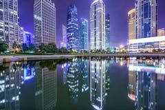 Paesaggio urbano finanziario del distretto di Shanghai, Cina Fotografia Stock