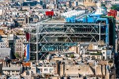 Paesaggio urbano Francia di Parigi del beaubourg di vista aerea Fotografie Stock Libere da Diritti