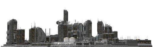 Paesaggio urbano futuro isolato sull'illustrazione bianca 3D Immagini Stock