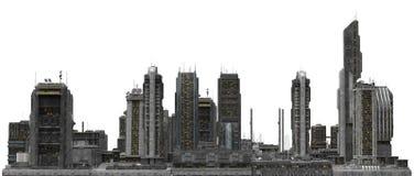 Paesaggio urbano futuro isolato sull'illustrazione bianca 3D Fotografia Stock Libera da Diritti