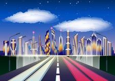 Paesaggio urbano futuro Strada principale che conduce alla città grattacieli contro le nuvole ed il cielo stellato illustrazione vettoriale