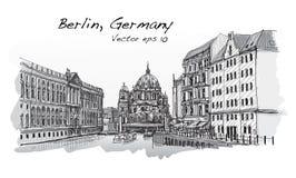 Paesaggio urbano in Germania Berlin Cathedral Vecchia costruzione disegnata a mano Immagine Stock Libera da Diritti