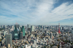 Paesaggio urbano Giappone della torre di Tokyo di vista aerea Immagine Stock