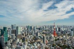 Paesaggio urbano Giappone della torre di Tokyo di vista aerea Immagini Stock
