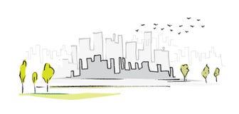 Paesaggio urbano, illustrazione simbolica semplice Fotografia Stock Libera da Diritti