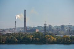 Paesaggio urbano industriale di Dniepropetovsk fotografie stock